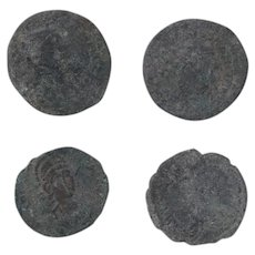 Ancient Coins Roman Artifacts Figural Mixed Lot of 4 B7284