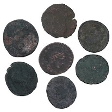 Ancient Coins Roman Artifacts Figural Mixed Lot of 7 B7302