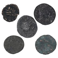 Ancient Coins Roman Artifacts Figural Mixed Lot of 5 B7306