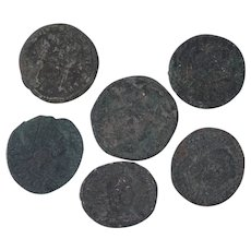 Ancient Coins Roman Artifacts Figural Mixed Lot of 6 B7308