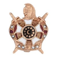 Demolay Pin 10k Gold Masonic Youth Pearls Garnets Crown Knight Lapel