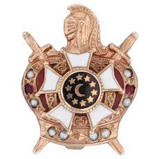 Demolay Pin 10k Gold Masonic Youth Pearls Garnets Crown Knight Lapel