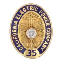 California Electric Power Company 35 Year Service Pin 10k Gold Diamond