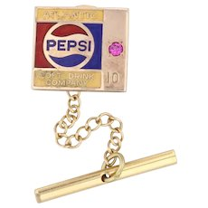 Atlantic Pepsi Tie Tac Pin 10k Gold 10 Years Company Service Synthetic Ruby