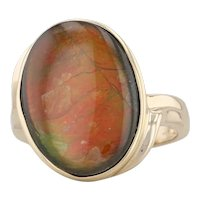 Ammonite Solitaire Ring 14k Yellow Gold Size 7.25 Colorful Oval Cabochon