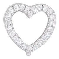 0.24ctw Diamond Heart Slide Pendant 18k White Gold Enhancers Opens