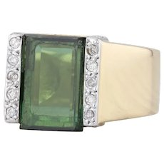 Green Tourmaline Diamond Ring 18k Yellow Gold Size 7.25 Cocktail