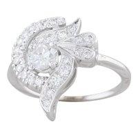 0.86ctw Pave Diamond Swirl Ring 14k White Gold Size 8 Cocktail