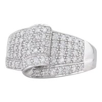 0.90ctw Pave Diamond Cocktail Ring 14k White Gold Size 10