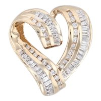 1.05ctw Diamond Heart Pendant 14k Yellow Gold Open Heart Statement