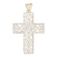 Ornate Filigree Cross Pendant 10k Yellow White Gold Floral Openwork