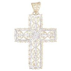 Ornate Filigree Cross Pendant 10k Yellow White Gold Floral Openwork