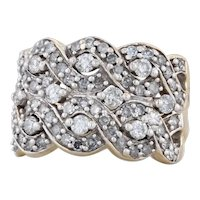 1ctw Woven Diamond Cocktail Ring 14k Yellow Gold Size 6 Cluster