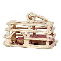 Lobster in Crate Charm 14k Yellow Gold Nautical Souvenir