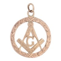 Vintage Masonic Pendant Fob 9k Yellow Gold Vintage Square Compass Insignia