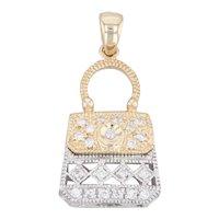 Diamond Purse Pendant 14k Yellow White Gold Hand Bag Charm