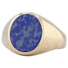 Blue Lapis Lazuli Ring 18k Yellow Gold Size 12.25 Oval Solitaire Signet Men's