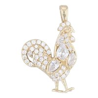 CZ Chicken Pendant 10k Yellow Gold Cubic Zirconias Farm Animal