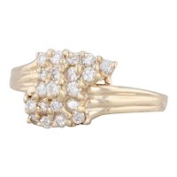 0.47ctw Diamond Cluster Bypass Ring 14k Yellow Gold Size 6.5
