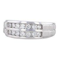 Men's 0.46ctw Diamond Wedding Band 10k White Gold Size 9 Ring