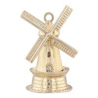 Windmill Charm 14k Yellow Gold Spins 3D Figurine Souvenir