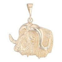 Buffalo Head Pendant 10k Yellow Gold Western