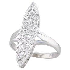 Vintage Diamond Latticework Marquise Ring 18k White Gold Size 6