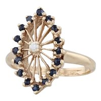 0.35ctw Blue Sapphire Diamond Marquise Halo Ring 14k Yellow Gold Size 6.75