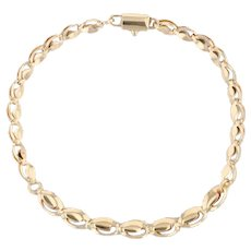 "Fancy Graduated Oval Link Chain 18k Yellow Gold 8"" 5.6-4.6mm"