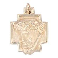 Jesus Cross Pendant 14k Yellow Gold Figural Charm Religious