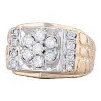 Men's 1ctw Diamond Cluster Nugget Ring 14k Yellow White Gold Size 10 Wedding