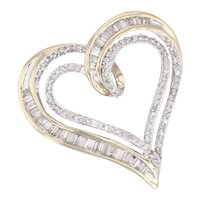 2-Toned 0.55ctw Diamond Heart Pendant 10k Yellow White Gold