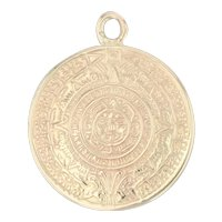 Mayan Calendar Charm 14k Yellow Gold Tribal Sun Pendant Mexico