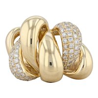 Abstract 1ctw Diamond Cocktail Ring 18k Yellow Gold Size 7.25 Pave Scallops