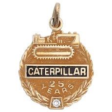 Caterpillar Tractor Company Charm 10k Gold Diamond 25 Years Service Award