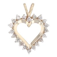 0.75ctw Diamond Heart Pendant 10k Yellow Gold Open Heart Drop