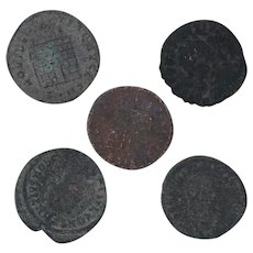Ancient Coins Roman Artifacts Figural Mixed Lot of 5 B7939