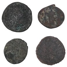 Ancient Coins Roman Artifacts Figural Mixed Lot of 4 B7941
