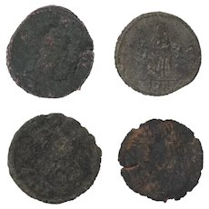 Ancient Coins Roman Artifacts Figural Mixed Lot of 4 B7944