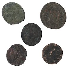 Ancient Coins Roman Artifacts Figural Mixed Lot of 5 B7946