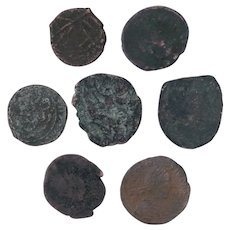 Ancient Coins Roman Artifacts Figural Mixed Lot of 7 B7949