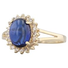 Blue Synthetic Sapphire Diamond Halo Ring 14k Yellow Gold Size 6.5