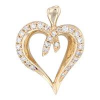0.55ctw Diamond Heart Pendant 14k Yellow Gold