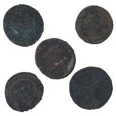 Ancient Coins Roman Artifacts Figural Mixed Lot of 5 B8036