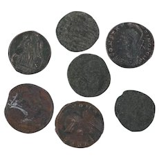 Ancient Coins Roman Artifacts Figural Mixed Lot of 7 B8049