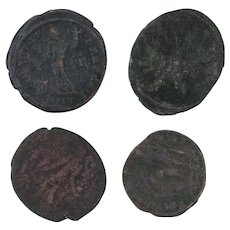 Ancient Coins Roman Artifacts Figural Mixed Lot of 4 B8070