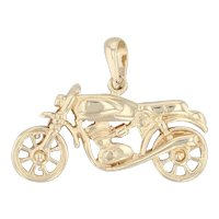 Motorcycle Pendant 14k Yellow Gold Motorbike
