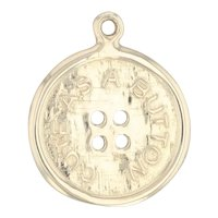 Cute as a Button Charm 14k Yellow Gold Gift Pendant