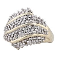 1ctw Diamond Pave Cluster Ring 10k Yellow Gold Size 8.25 Cocktail