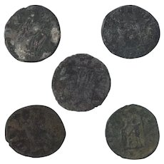 Ancient Coins Roman Artifacts Figural Mixed Lot of 5 B8156